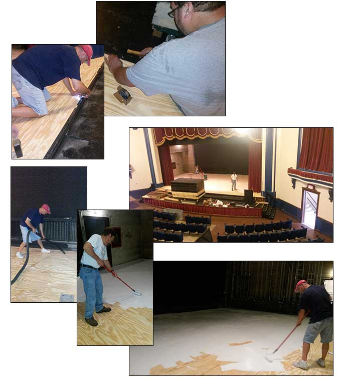 Dick Davies, Mike Humke, Mike Schmieder level and paint the stage floor.  © 2014 Celeste Moore
